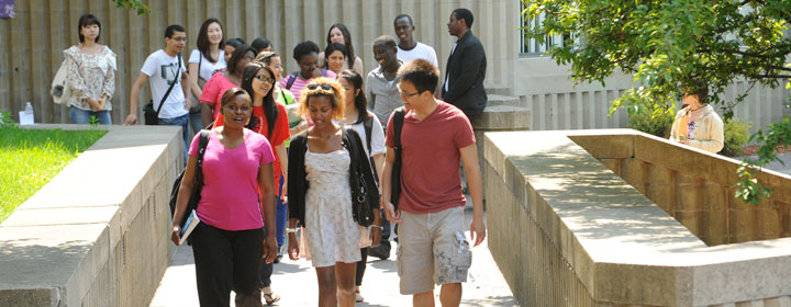 BHCC Students walking through the plaza