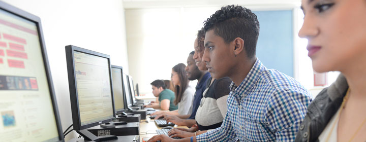 BHCC students working on computers in the lab