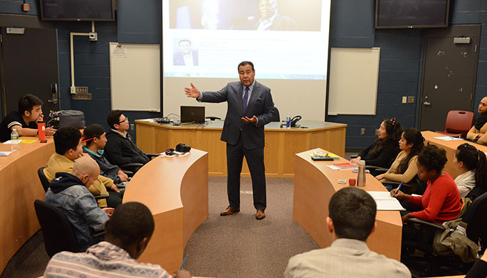 John Quinones speaking with BHCC students