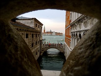 2015-2016 Second Place Student Photo Contest by Daemon Tendler.  View from the Bridge of Sighs, the Doge's Palace. Location: Venice, Italy